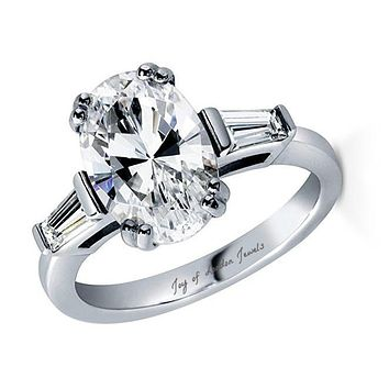 A Classic 3.9CT Oval Cut Russian Lab Diamond Engagement Ring with Baguettes