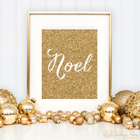 Noel Christmas gold glitter wall art printable, script font, Holiday decor (Printable wall art decor - Instant digital download - JPG)