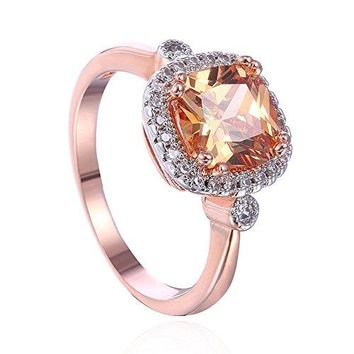 Princess Cut Pink Rose Stone 18K Rose Gold IP Plated Stainless Steel Halo Engagement Wedding Band Ring