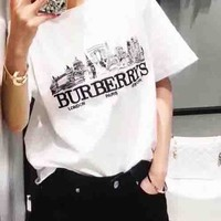 Burberry Fashion Blue White Big Logo House Print Tee Shirt Top B-YF-MLBKS White