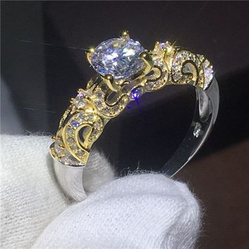 Vintage jewelry Lovers ring AAAAA Zircon Cz Gold Color 925 sterling silver Engagement wedding band rings for women Jewelry Gift