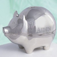 Engraved Silver Piggy Bank