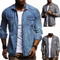 2018 Men Washed Demin Shirts Long Sleeves Slim Fit Jean Shirts For Men Cowboy Tees Tops Classic Casual Hombre Outerwear