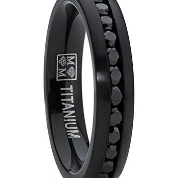 4MM Black Brushed Round Cut Women's Eternity Titanium Ring Wedding Band with Black Cubic Zirconia CZ | FREE ENGRAVING