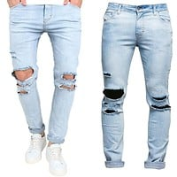 Men's Slim Skinny Runway Straight Elastic Denim Pants Destroyed Ripped Jeans USA Light Blue Hole Pencil Jeans