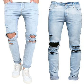 Men's Trousers Slim Pant Skinny Runway Straight Elastic Denim Pants Destroyed Ripped Jeans