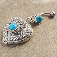 Turquoise Heart Belly Button Jewelry, Southwestern Turquoise Belly Button Ring