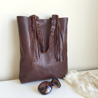 Brown Distressed Leather Bag,Brown Leather Purse,Genuine Leather Bag,Boho Tote Bag,Brown leather Bag,Distressed Leather Handbag,Brown Tote