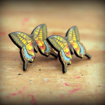 Butterfly Earrings - Colorful Butterfly - Butterfly Post Back Earrings - Yellow Blue Butterfly - Butterflies Are Free - Shrink Plastic Studs