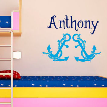 Anchor Wall Decal Boy Personalized Name Stickers Ocean Sea Vinyl Decals Art Mural Bedroom Interior Design Nursery Nautical Decor KI32