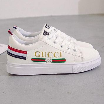GUCCI Trending Women Casual Flat Sport Shoes Sneakers White