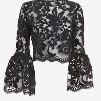 ALEXIS BELL SLEEVE LACE CROP TOP