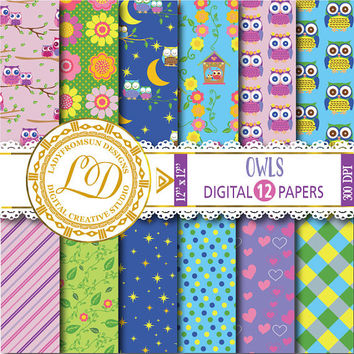 Owls Digital Papers ,polka dot, flowers, Baby Boy, Baby Girl, Pink , purple, blue, Scrapbook Paper and Backgrounds Commercial-Personal Use