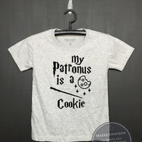 My patronus is a Cookie - Harry potter Kids Shirt - Girls Clothing- Funny Birthday, Kid Shirt, little girl, hipster kids, Flock printing