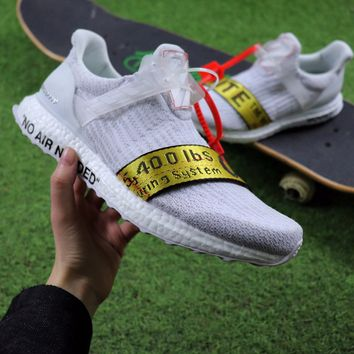 Best Online Sale OFF WHITE x Adidas Custom Ultra Boost 2.0 OW Sport Running Shoes White Yellow BA8841