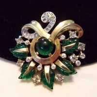 MAZER Jewelry Brooch Art Deco Fruit Salad Green Glass Bead Rhinestone Gold Plate
