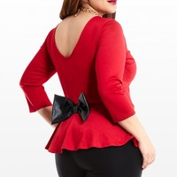 Plus Size Take A Bow Peplum Top | Fashion To Figure