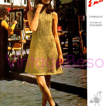 2 PATTERNS Retro 1960s Dress Knitting Pattern and Hat Crochet Pattern Emu 2970 Emu Candlelite Vintage Beso Instant Download PDF Boho Mod