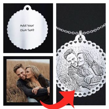 Happy Couple Personalized Photo [Custom Engraved] Silver Pendant Necklace