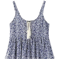Floral Lace Crochet Accent Tasseled Tie-Front Tank Top
