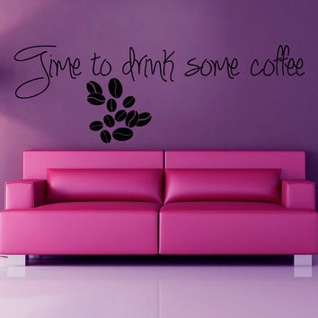 Coffee Time Wall Decals Quotes Coffee Beans Words Kitchen Wall Decor Vinyl Sticker Home Decor Vinyl Art Wall Decor Nursery Decor KG56