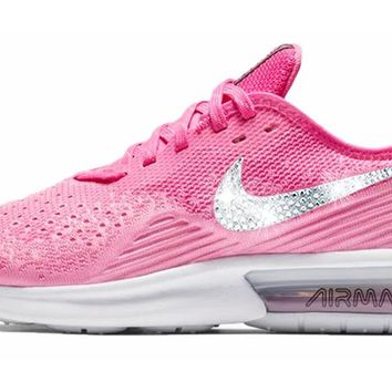Nike Air Max Sequent 4 + Crystals - Laser Fuchsia Psychic Pink 2f11bfc2502c