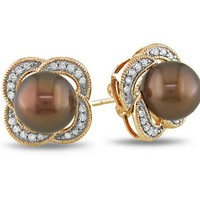 10k Rose Gold Diamond and Chocolate Tahitian Cultured Pearl Earrings (0.25 cttw, G-H Color, I2-I3 C