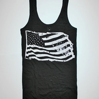 black tank, tank top, flag, memorial, USA, flag tshirt, flag tank, tank flag, 1AEON women's burnout black soft Flag tank - M