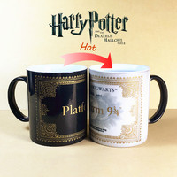 HOT SALL Harry Potter Mug Color Changing Cup,Mischief Managed /Platform 9 and 3/4 Magic Coffee Cup,Sensitive Ceramic tea Mug cup
