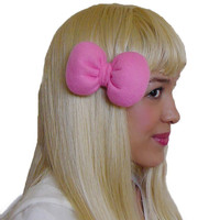 Mini Minnie Mouse Poofy Hair Bow Clip in Hot Pink