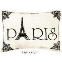 """Paris"" - Small/Cute Embroidered ACCENT ""Pillow"" (5 1/2"" x 8 1/2""):Amazon:Home & Kitchen"
