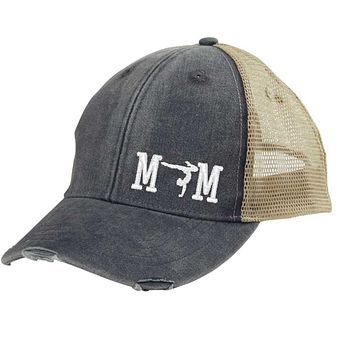 Gymnastics Mom Distressed Snapback Trucker Hat - off-center