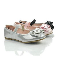 JessieIISQ Pink Patent By Happy Soda, Infant Girl's Mary-Jane Round Toe Ballet Flat w Bow. New Shoe