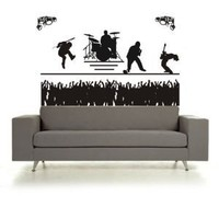 BIG BIG BIG Rock Band Concert and Crowd Sticker Wall Decal Music Kid Teen Room Cool Rockstar Guitar Hero Drums Punk