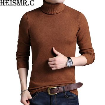 2017 New Winter Men'S Sweater Men'S Turtleneck Solid Color Casual Sweater Men's Slim Fit Brand Knitted Thick Wool Pullovers HK44
