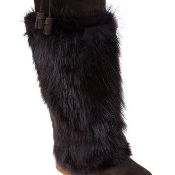 Moncler Fur Covered Boot