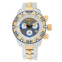 Invicta 19015 Men's Hydromax Silver & Gold Perforated Dial Two Tone Bracelet Chrono Dive Watch