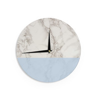 "Suzanne Carter ""Marble And Blue Block"" Modern Gray Wall Clock"