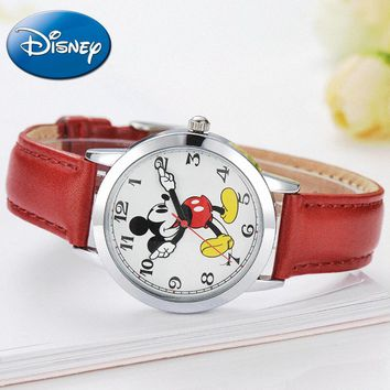 Mickey Mouse Leather Quartz Round Watch. Comes in 5 Colors
