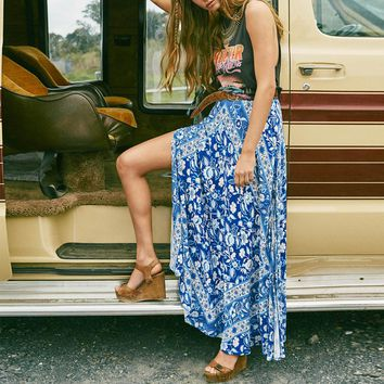 BOHO maxi skirt 2017 cotton and Rayon Blue ethnic floral print sexy Side fork Women beach wear Casual Hippie long skirts