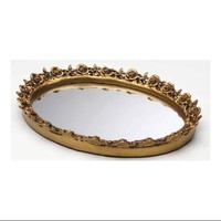Rose Oval Mirror Tray (Antique Gold) - Walmart.com