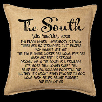 Burlap Pillow- The South