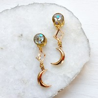 Magical Girl Gold Dangle Crescent Moon Plugs