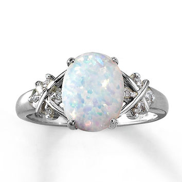 Lab-Created Opal Ring Oval-cut with Diamonds 10K White Gold