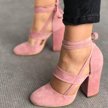 Women Pumps Fashion Gladiator Heels Shoes Woman Quality Lace Up High Heels Hollow Women Heels Black Pink
