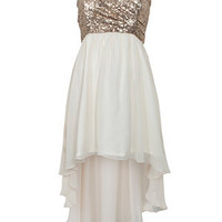Parisian Cream and Gold Sequin Dip Hem Dress