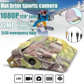 HD 1080P Cap Hat Brim Clip Action Sport Camera Recorder Outdoor Hunting Camping night version with LED light