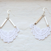 Butterfly Lace Earrings in White and Silver by branchbound on Etsy