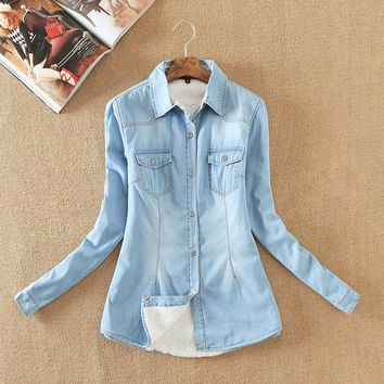 2017 Womens Chambray Shirt Top denim Shirts and Blouses Long Sleeve Snap Button Cotton Ladies Shirt Camisa Blusa Roupas Feminina