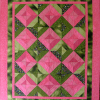 Lap Quilt  Valentine Pink  Wall Hanging Throw